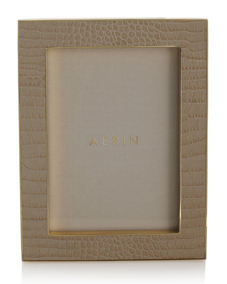 "Classic Croc-Embossed Leather Frame, 5"" x 7"""