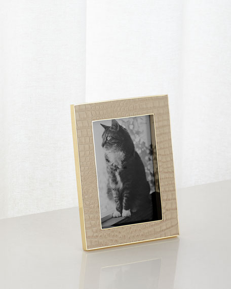 "Classic Croc-Embossed Leather Frame, 4"" x 6"""