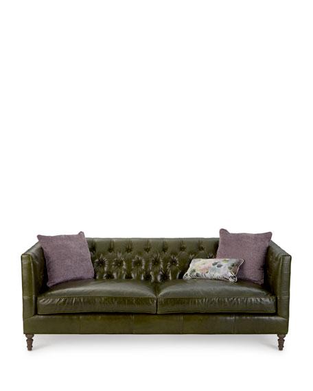 Teighlor Tufted Leather Sofa