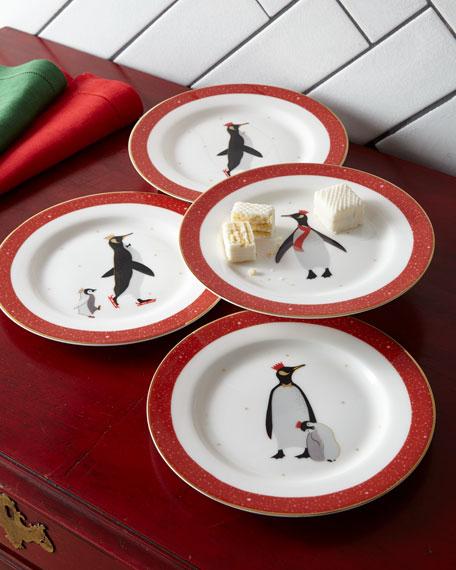 Sara Miller Sara Miller Red Penguins Holiday Assorted Desert Plates, Set of 4