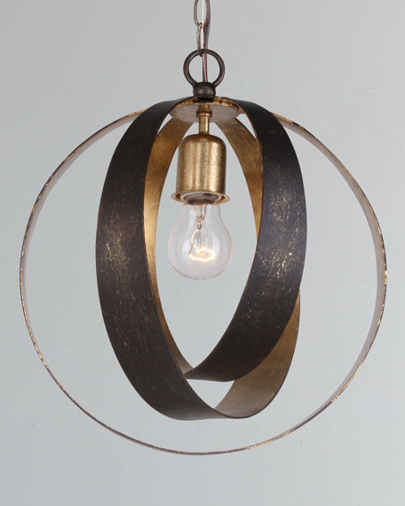 Luna 1-Light Bronze Gold Sphere Mini Chandelier