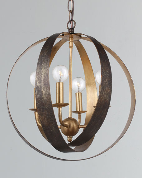 Luna 4-Light Bronze Gold Sphere Mini Chandelier