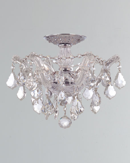 Maria Theresa Hand-Cut 3-Light Clear Crystal Semi Flush