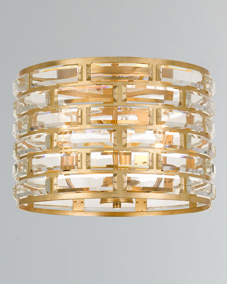 Meridian 3-Light Antiqued Gold Ceiling Mount