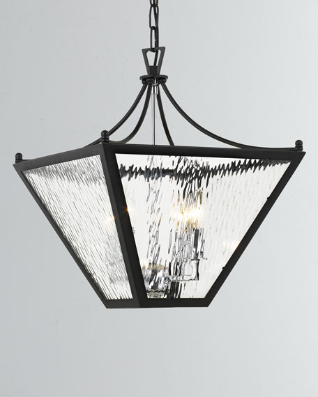 Park Hill 4-Light Matte Black and Polished Chrome Small Lantern