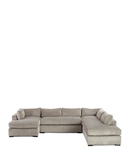"""Old Hickory Tannery Mitchell Upholstered Sectional Sofa (Right Facing) 136.5"""""""
