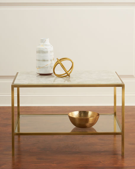 Calcite Antiqued Brass Side Table