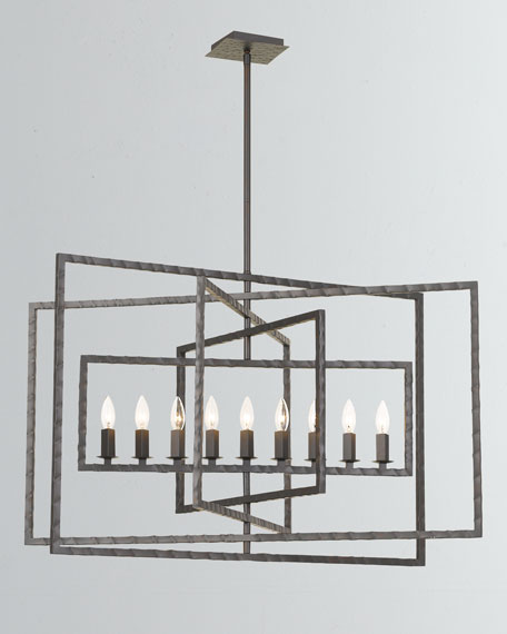 Capri 9-Light Raw Steel Chandelier