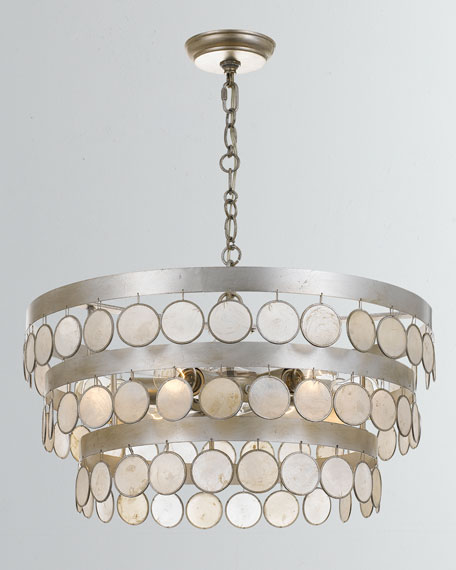 Coco 6-Light Antiqued Silver Chandelier