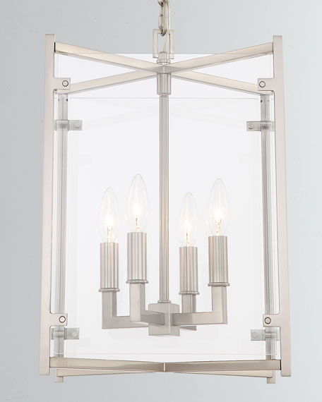 "Danbury 4-Light Brushed Nickel Chandelier, 13.75""T"