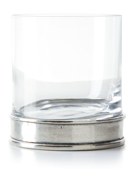Neiman Marcus Pewter and Glass Double Old-Fashioned