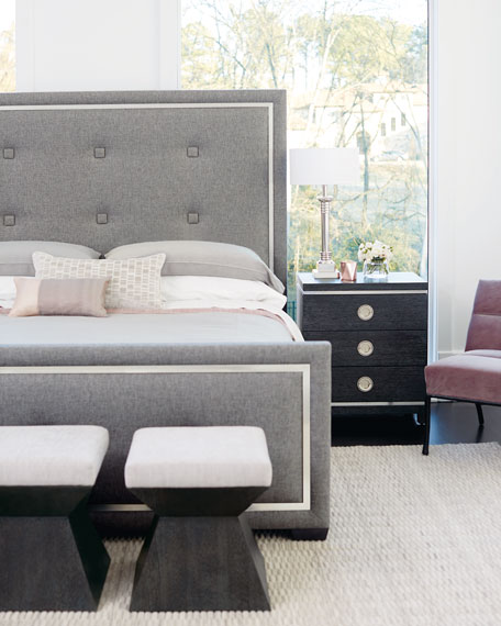 Bernhardt Decorage Tufted Stainless-Trim California King Bed
