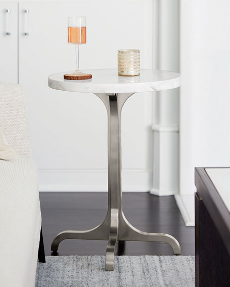 Decorage Marble-Top Stainless Base Side Table