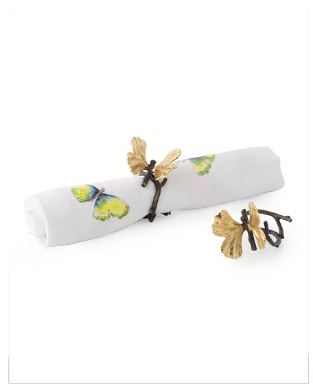 Michael Aram Butterfly Ginkgo Napkin Rings, Set of