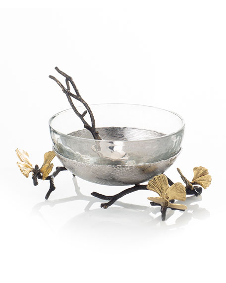 Michael Aram Butterfly Ginkgo Glass Nut Dish with