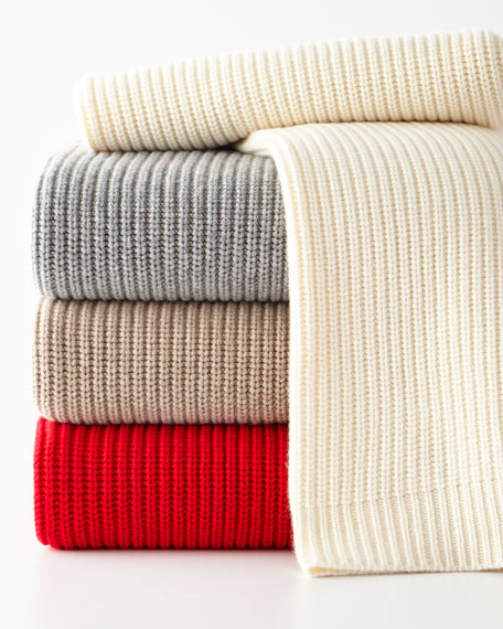 Sofia Cashmere Shaker Rib Knit Throw