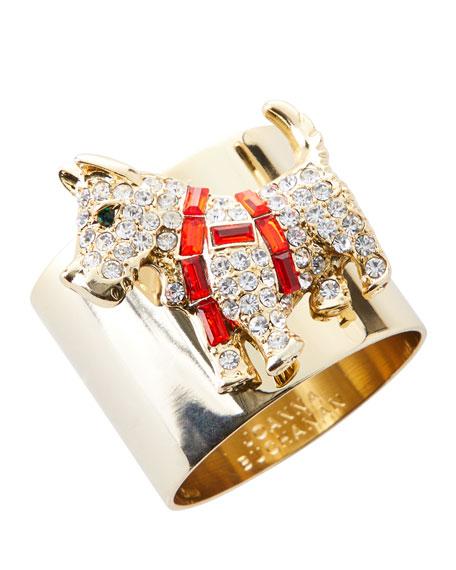 Scottie Dog Crystal Napkin Rings, Set of 2
