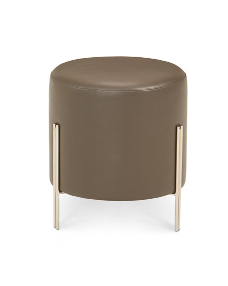 Interlude Home Betina Faux-Leather Round Ottoman/Stool