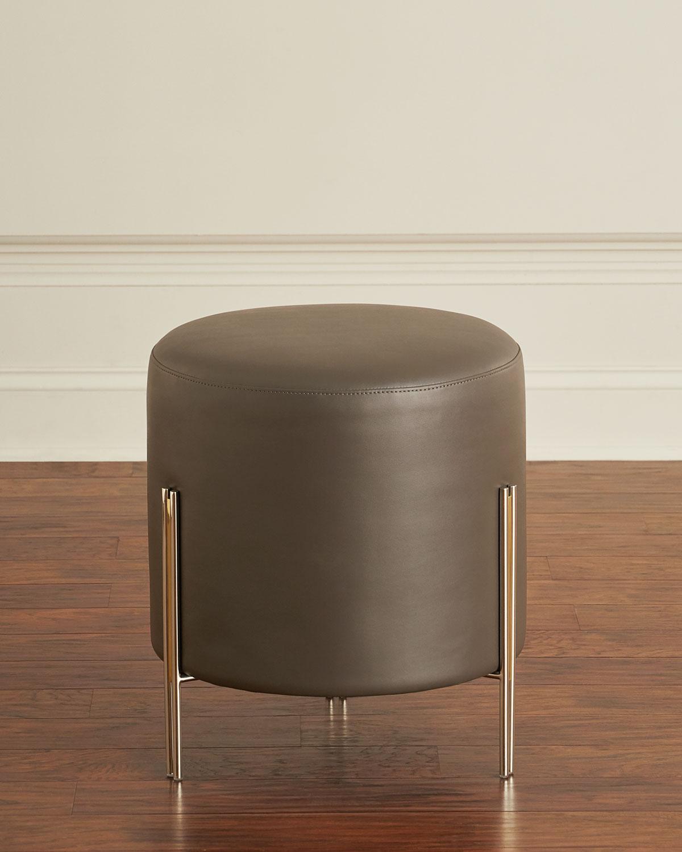 Fine Betina Faux Leather Round Ottoman Stool Machost Co Dining Chair Design Ideas Machostcouk
