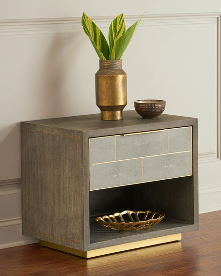 Interlude Home Olivia Shagreen Bedside Chest