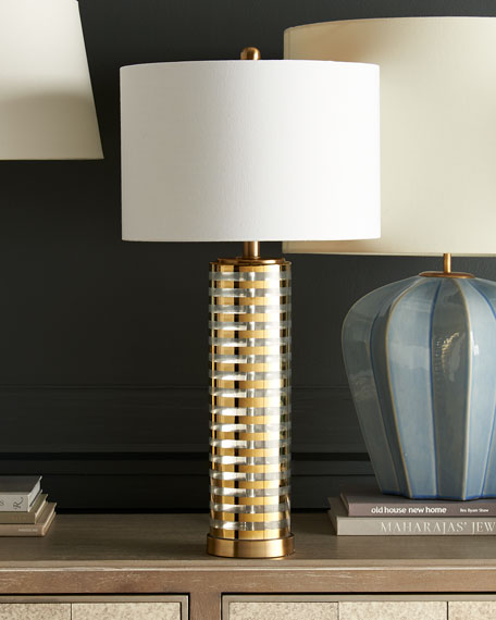 Old Striped Glass Table Lamp