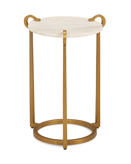 Global Views Cresthaven Ivory Marble Accent Table