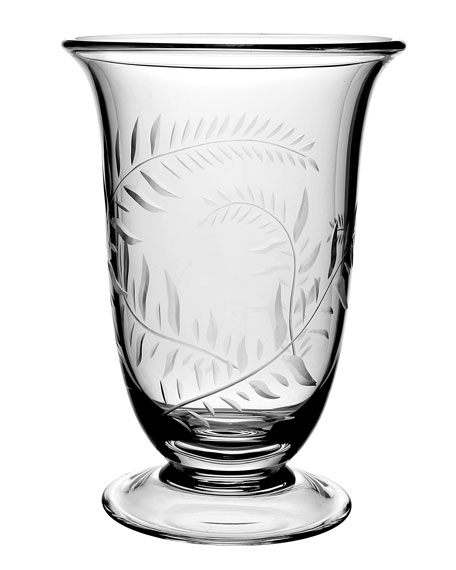 William Yeoward Jasmine Etched Glass Flower Vase - 9.5""