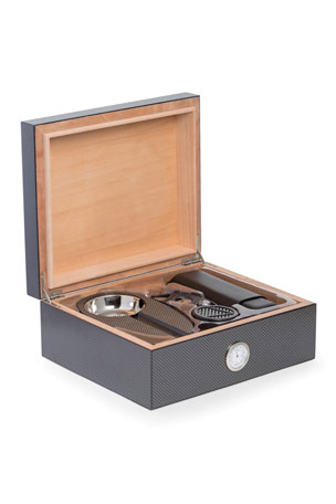 Bey-Berk Carbon Fiber Cigar Humidor & Accessories Set