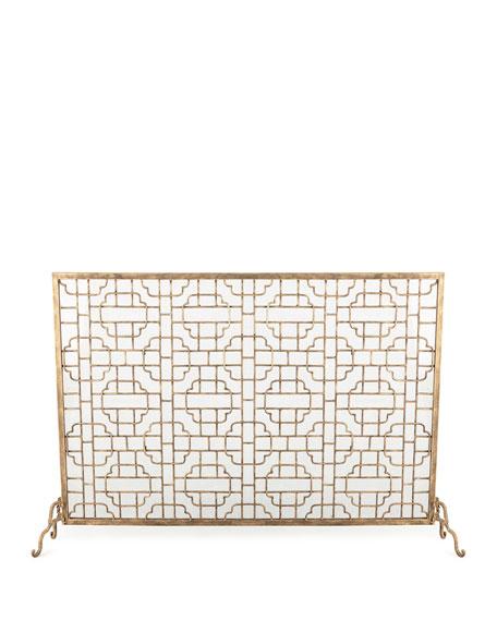 Single-Panel Geometric Fireplace Screen