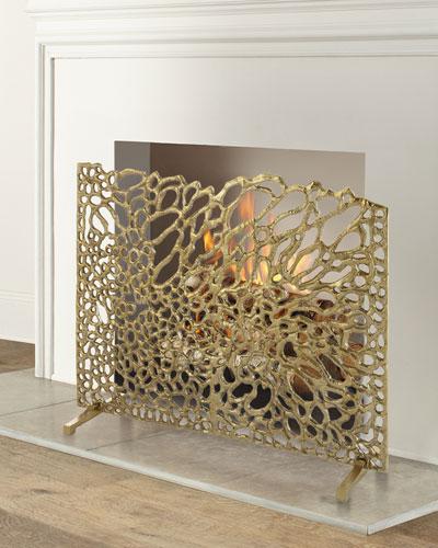 Gold Organic Fireplace Screen
