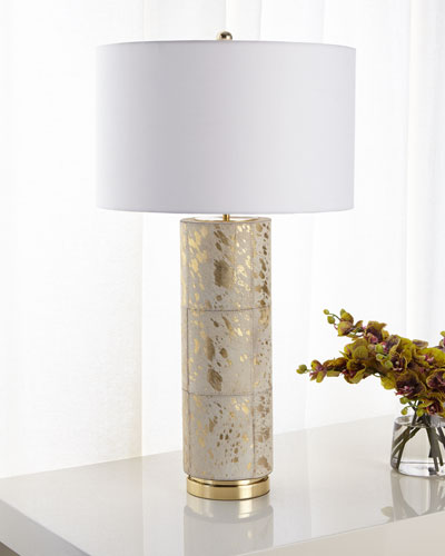 HAIR ON HIDE TABLE LAMP WITH
