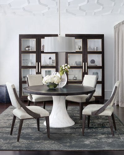 Decorage Round Hand-Painted Marble-Finish Dining Table
