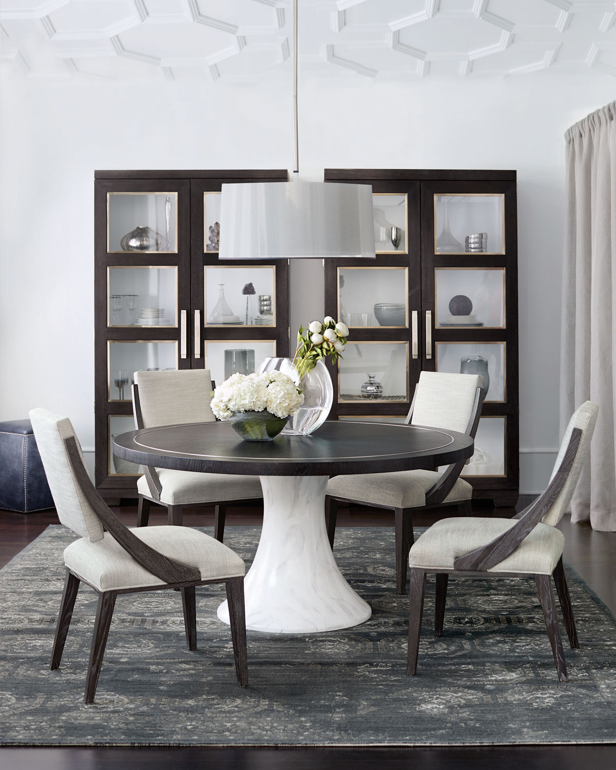 Imported Furniture Online: Bernhardt Decorage Round Hand-Painted Marble-Finish Dining
