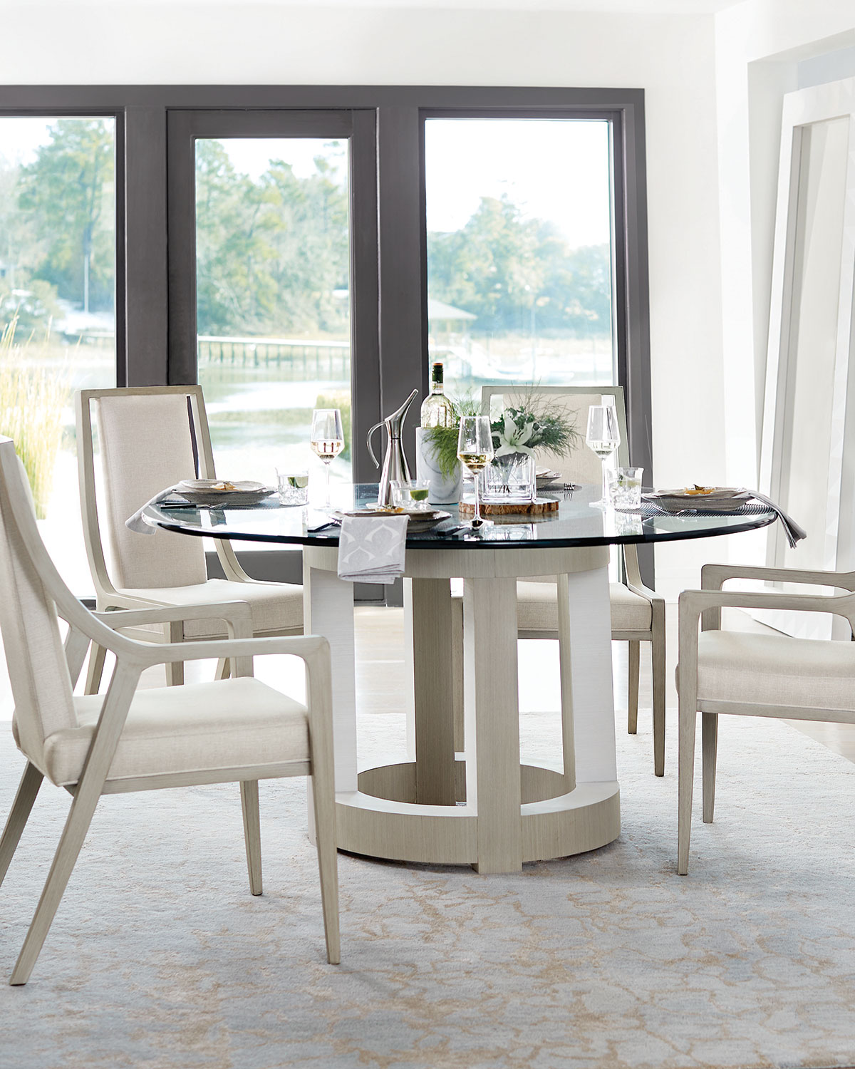 Bernhardt Axiom Round Glass Top Dining Table 60 Neiman Marcus