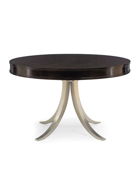 "Bernhardt Haven 48"" Round Dining Table with Vintage Nickel Metal Base"