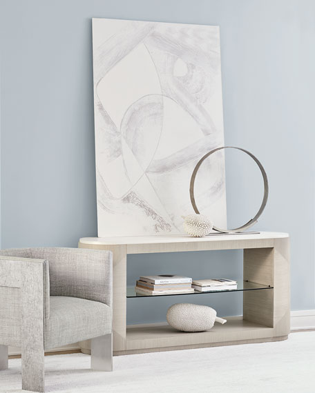 Bernhardt Axiom Oval Console Table with Glass Shelf