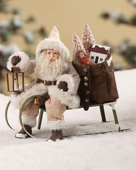 Bethany Lowe Woodland Santa on Sled Christmas Decor