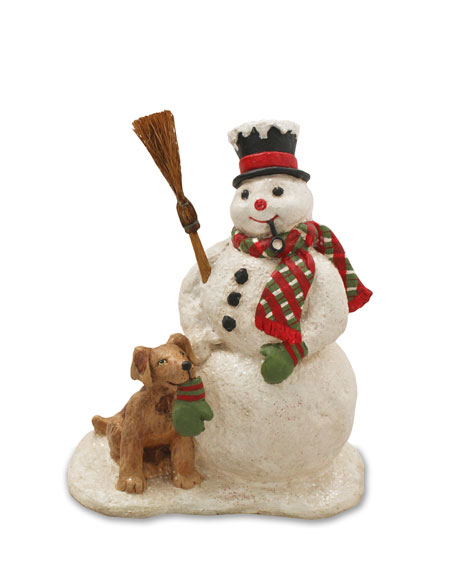 Bethany Lowe Snowman and Dog Christmas Decor Statue