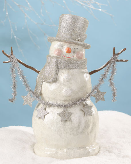 Bethany Lowe Platinum Smiley Snowman Large Paper Mache Christmas Decor