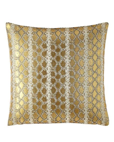Isabella Collection by Kathy Fielder Gabriella Metallic Snake Pattern Pillow