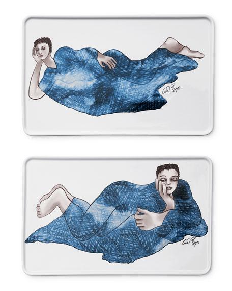 Carrol Boyes Indigo Girl's Rectangle Platters, Set of 2