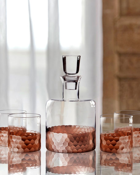 Daphne 5-Piece Square Whiskey Decanter Set, Copper