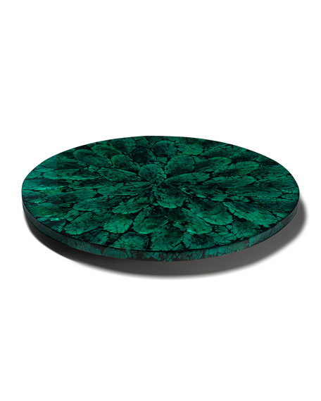 LADORADA Mother of Pearl Revolving Tray, Green
