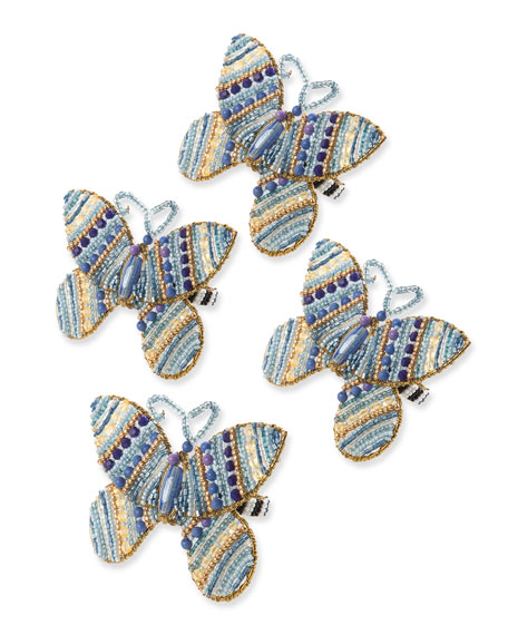 MacKenzie-Childs Royal Butterfly Napkin Rings, Set of 4
