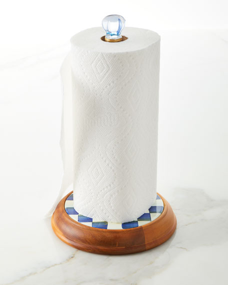 Image 2 of 2: MacKenzie-Childs Royal Check Paper Towel Holder