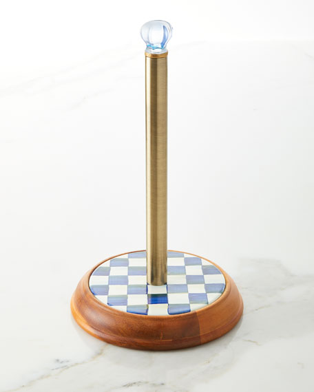 Image 1 of 2: MacKenzie-Childs Royal Check Paper Towel Holder