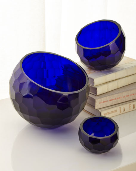 Decorative Glass Faceted Bowls, Set of 3