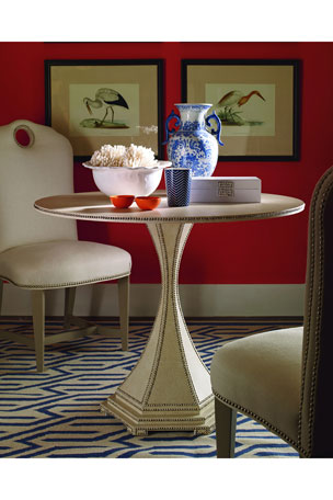 Century Furniture Inlaid Woven Raffia Side Table