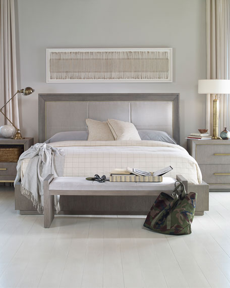 Image 1 of 2: Century Furniture Kendall Velvet Upholstered Queen Bed