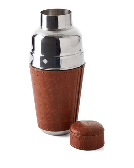 Graphic Image Croco-Embossed Leather Cocktail Shaker